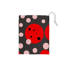 Red and pink dots Drawstring Pouches (Small)