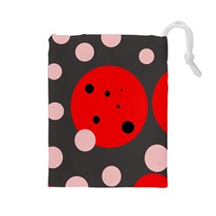 Red and pink dots Drawstring Pouches (Large)