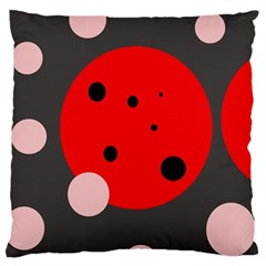 Red and pink dots Large Flano Cushion Case (One Side)