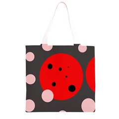 Red and pink dots Grocery Light Tote Bag