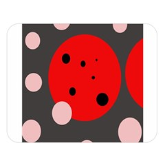 Red and pink dots Double Sided Flano Blanket (Large)