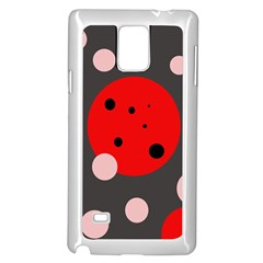 Red and pink dots Samsung Galaxy Note 4 Case (White)