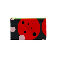Red and pink dots Cosmetic Bag (XS)