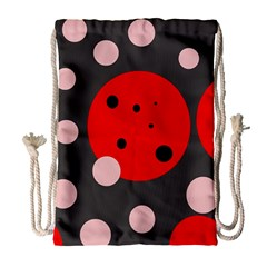 Red and pink dots Drawstring Bag (Large)