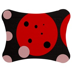 Red And Pink Dots Jigsaw Puzzle Photo Stand (bow)
