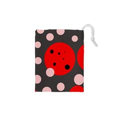 Red And Pink Dots Drawstring Pouches (xs)
