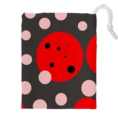 Red and pink dots Drawstring Pouches (XXL)