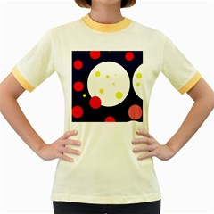 Abstract moon Women s Fitted Ringer T-Shirts