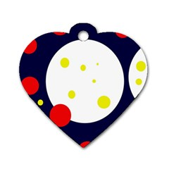 Abstract moon Dog Tag Heart (Two Sides)