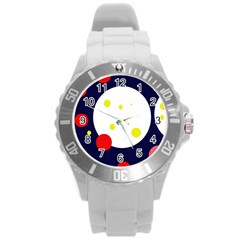 Abstract moon Round Plastic Sport Watch (L)