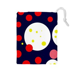 Abstract moon Drawstring Pouches (Large)