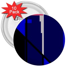 Blue abstraction 3  Buttons (10 pack)