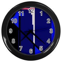 Blue abstraction Wall Clocks (Black)