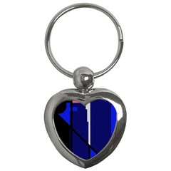 Blue abstraction Key Chains (Heart)