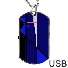 Blue abstraction Dog Tag USB Flash (Two Sides)