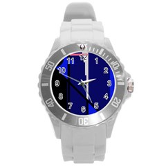 Blue abstraction Round Plastic Sport Watch (L)