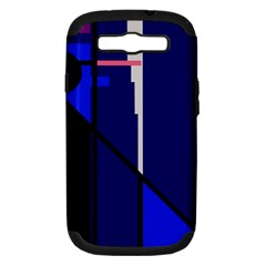 Blue abstraction Samsung Galaxy S III Hardshell Case (PC+Silicone)