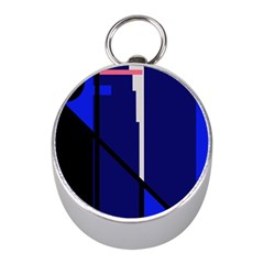 Blue abstraction Mini Silver Compasses