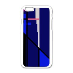 Blue abstraction Apple iPhone 6/6S White Enamel Case