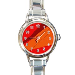 Red and orange decorative abstraction Round Italian Charm Watch