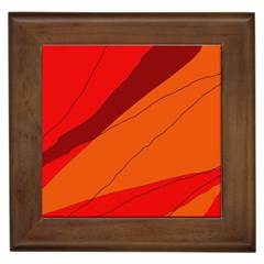 Red and orange decorative abstraction Framed Tiles