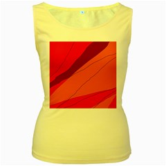 Red and orange decorative abstraction Women s Yellow Tank Top