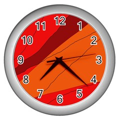 Red and orange decorative abstraction Wall Clocks (Silver)