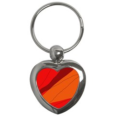 Red and orange decorative abstraction Key Chains (Heart)