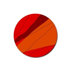 Red and orange decorative abstraction Rubber Coaster (Round)