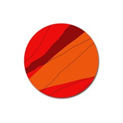 Red and orange decorative abstraction Magnet 3  (Round)