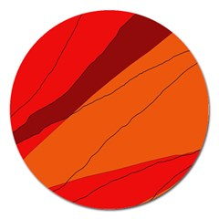 Red and orange decorative abstraction Magnet 5  (Round)
