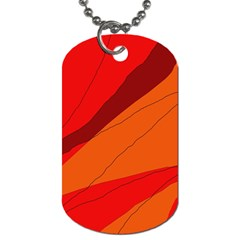Red and orange decorative abstraction Dog Tag (One Side)