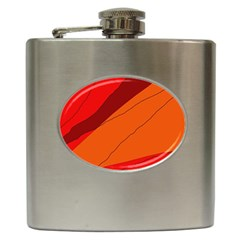 Red and orange decorative abstraction Hip Flask (6 oz)