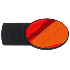 Red and orange decorative abstraction USB Flash Drive Oval (2 GB)