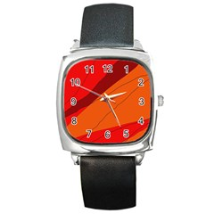 Red and orange decorative abstraction Square Metal Watch