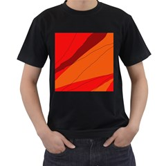 Red and orange decorative abstraction Men s T-Shirt (Black) (Two Sided)