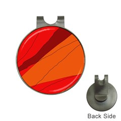 Red and orange decorative abstraction Hat Clips with Golf Markers