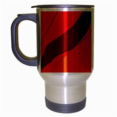 Red And Orange Decorative Abstraction Travel Mug (silver Gray)