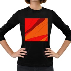 Red and orange decorative abstraction Women s Long Sleeve Dark T-Shirts