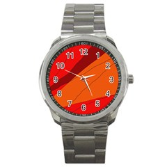 Red and orange decorative abstraction Sport Metal Watch