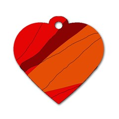 Red and orange decorative abstraction Dog Tag Heart (One Side)