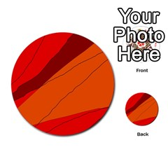 Red and orange decorative abstraction Multi-purpose Cards (Round)