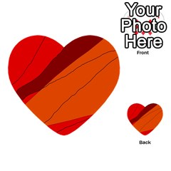 Red and orange decorative abstraction Multi-purpose Cards (Heart)