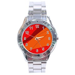 Red and orange decorative abstraction Stainless Steel Analogue Watch