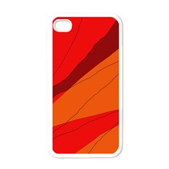 Red and orange decorative abstraction Apple iPhone 4 Case (White)