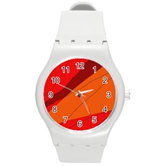 Red and orange decorative abstraction Round Plastic Sport Watch (M)