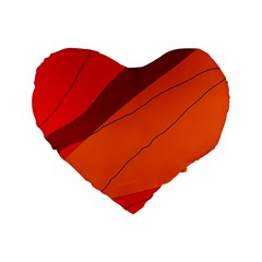 Red and orange decorative abstraction Standard 16  Premium Heart Shape Cushions