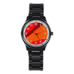 Red and orange decorative abstraction Stainless Steel Round Watch