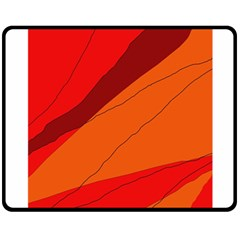 Red and orange decorative abstraction Double Sided Fleece Blanket (Medium)