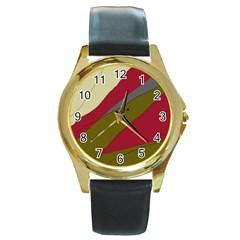 Decoratve abstraction Round Gold Metal Watch